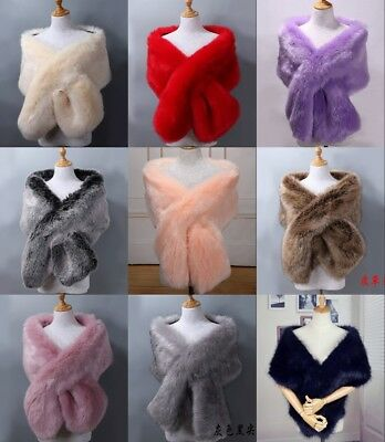 New Luxury Faux Fur Wedding Shawls Bridal Large Wraps Women Stole Shrug 165*25CM