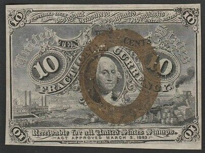 L79 USA fractional currency 10 cents 1863, P102, VF/XF