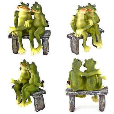 Garden Frogs 2 Figurine Statue Bench Outdoor Decoration Yard Home Lawn Gift New
