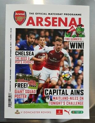 Arsenal v Doncaster Rovers Carabao Cup Third Round Official Matchday Programme