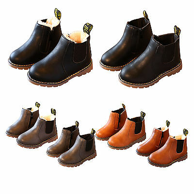 UK Kids Boys Girl Winter Warm Chelsea Ankle Boots Infant Faux Leather Shoes Size