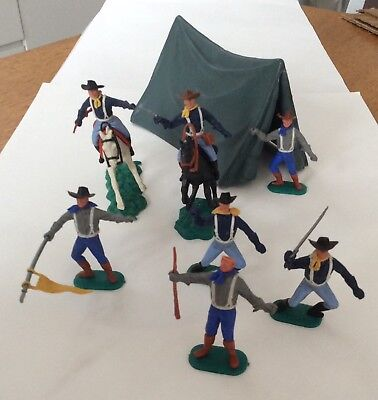 Vintge Timpo American Civil War soldiers - with tent - horses - bits missing