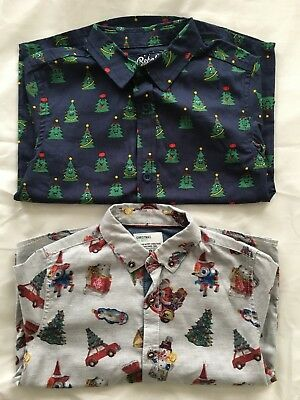 Two Boys Christmas Shirts In Size 4 To 5 Years, Next And Primark