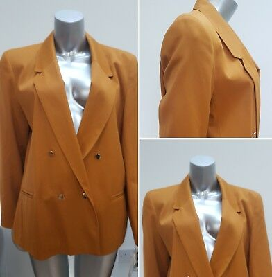 Vintage 1990 Mustard Yellow Double Breasted Suit Blazer Jacket Preppy Punk 16 18