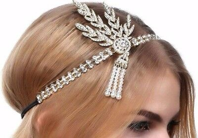 Rhinestone Flapper Gatsby 20's Style Pearl Headdress Head Band   Uk Seller