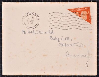 Guernsey 1940 2d Bisect on Cover. Wartime Occupation.