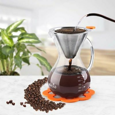 UK SHIP Glass Pour Over Coffee Maker &Reusable Filter &Silicone Mat 800ml 5 Cups