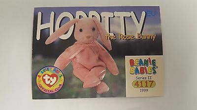 Hoppity the Rose Bunny TY Beanie Baby collector card Series 2 EU