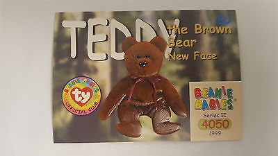 TY Beanie Baby collector card Teddy the Brown Bear New Face Series 2 EU