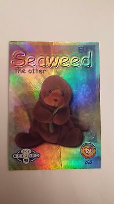 Seaweed the Otter TY Beanie Baby collector card - retired hologram card