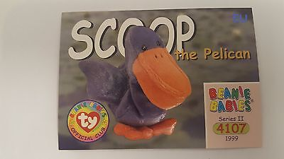 Scoop the Pelican TY Beanie Baby collector card Series 2 EU