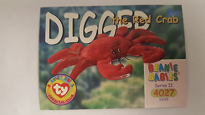 TY Beanie Baby collector card Digger the Red Crab Series 2