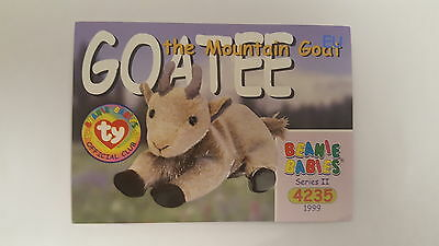 TY Beanie Baby collector card Goatee the Mountain Goat Series 2 EU