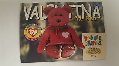 TY Beanie Baby collector card Valentina the Bear Series 2