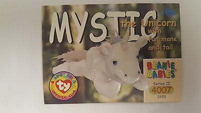 TY Beanie Baby collector card Mystic the Unicorn with fur mane and tail Series 2