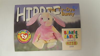 TY Beanie Baby collector card Hippie the Ty-Dye Bunny Series 2