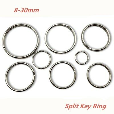 10x Split Keyring keychain Key Ring Loop Holder Clasps Keyfob Connector 8-30mm