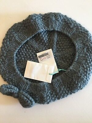 Marie Chantal Steel Grey Bow Detail Beret Hat Size Large