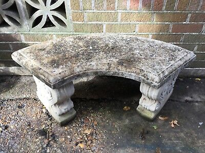 Stone Curved Garden Seat Bench