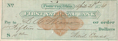 Antique Check  First National Bank, Pomeroy, Ohio  1874