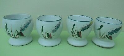 Set of 4 Denby Green Wheat Egg Cups - Stoneware