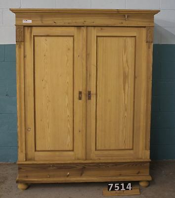 Antique Pine Wardrobe With Shelf