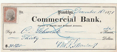 Commercial Bank, Brooklyn New York      1871   W/revenue Stamp