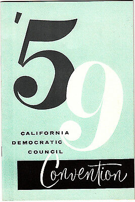 1959 California Democratic Council Convention Democrats Vintage Booklet