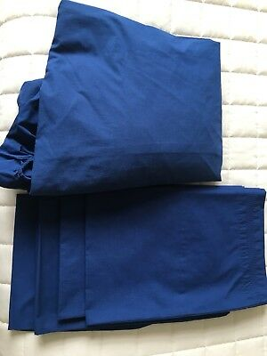 Marks And Spencer Indigo Blue Double Fitted Sheet 4 Pillowcases