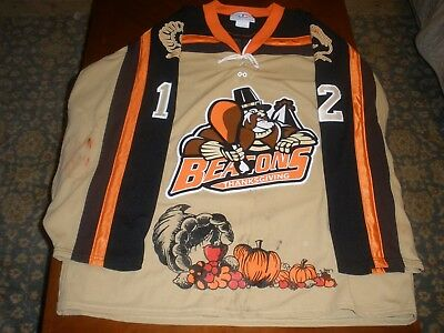 Port Huron Beacon  Game Worn Thanksgiving Hockey Jersey #12 Jacobs AK XXL UHL