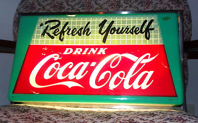 "1950 Coca-Cola ""Refresh Yourself"" LIghted Sign 17"" x 10"""