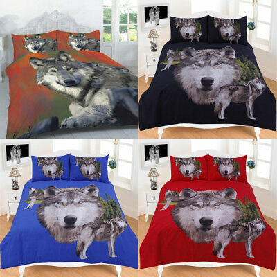 Quilt Cover 3D Wolves Print Duvetcover Single Double King Superking Animal Print