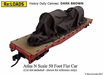 DARK BROWN 'Canvas' Tarped Covered Sheeted Machinery Railway Load, N Scale Gauge