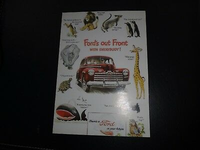 1946 Ford Super Deluxe Ad / Postcard - Ford's Out Front - Cartoon Animals - Repo