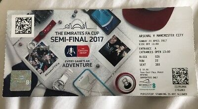 Arsenal V Manchester City used FA Cup Semi Final Ticket Stub 23 April 2017