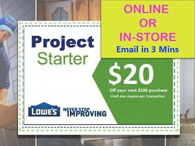 One(1x) Lowes $20 Off $100-Lowe's-Coupon-exp 10/25/17   - Fast Delivery