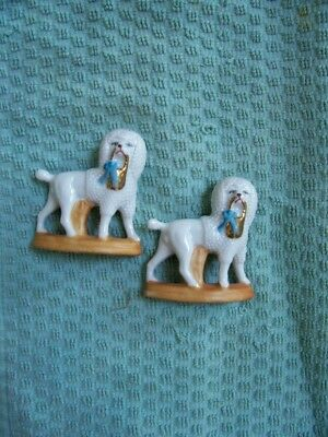 Vintage Set of German Staffordshire-style Porcelain Poodle Dog Figurines