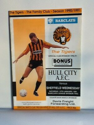 Hull City v Sheffield Wednesday Football Programme (1990/91)