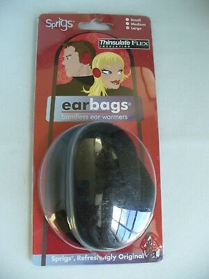 Sprigs EARBAGS with Thinsulate ~ Bandless Ear Warmers ~ Sz L ~ Black