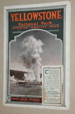 **vintage 1919 Railroad Administration Yellowstone National Park Brochure**map