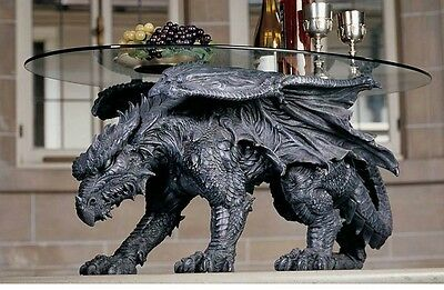 Design Toscano Exclusive Warwickshire Dragon Oval Glass Topped Coffee Table
