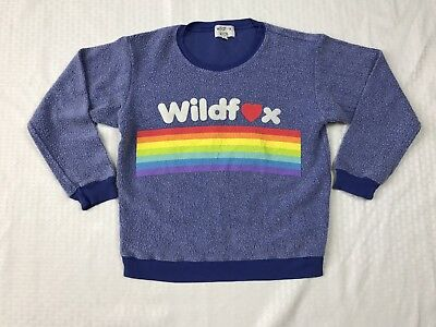 Wildfox Kids Girls Blue Long Sleeve Rainbow Sweater Sz 12 Cotton Blend
