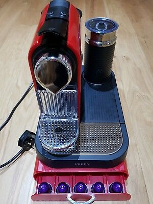 Krups Nespresso Citiz Coffee Machine in Red with Frother & Storage Drawer
