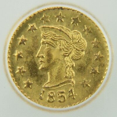 1854 California Gold Token Round Liberty - MS65