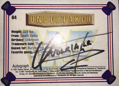 The Undertaker signed card Autograph ,wrestling,we,wwe,wwf,tna,wcw,nwo