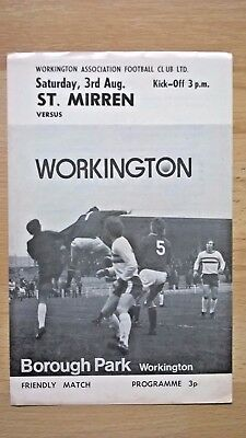 Workington v St Mirren - 1974 Friendly - Hard to come by Workington home program