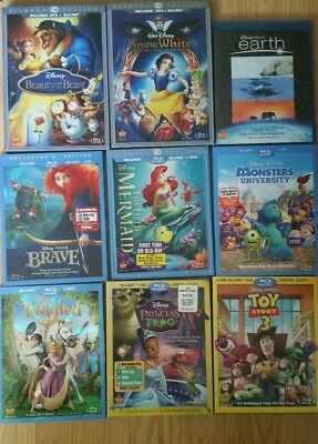 Lot Of 9 Disney Blu Ray Movies:  Brave, Tanged, Snow White, Beauty And The Beast