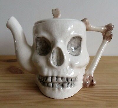 Superb 'Crown Winsor' hand painted, Skull & Crossbones collectors Teapot in VGC.