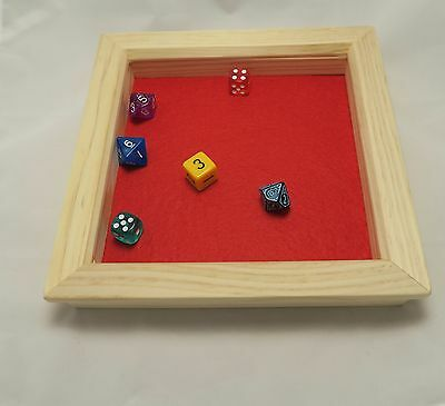 Square Wooden Dice Tray - Pine - Red Lined D&D RPG Gaming Dice Box- Rolling Tray
