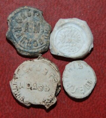 4x lead custom seals of the Russian Empire the end of 19th century